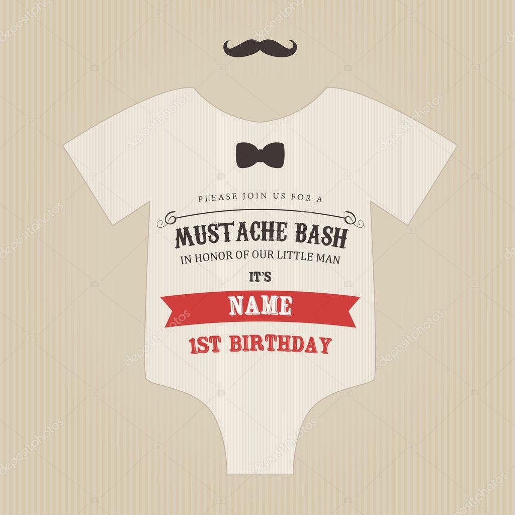 Lustige Vintage Baby Geburtstag Schnurrbart Bash Einladung U2014 Vektor Von  Ivan.baranov