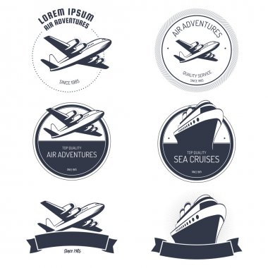 Vintage air and cruise tours labels and badges
