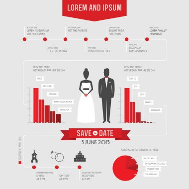 Funny infographics style wedding invitation clip art vector