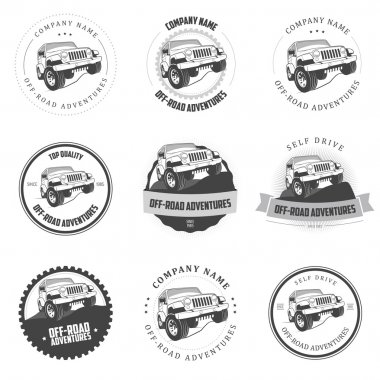 Monochrome off-road adventures labels and badges
