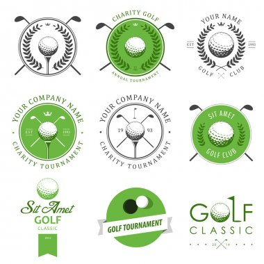 Set of golf club labels and emblems