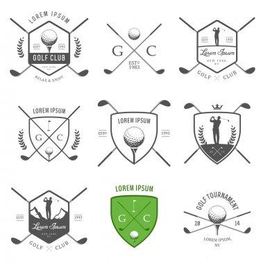 Set of golf labels, badges and design emblems