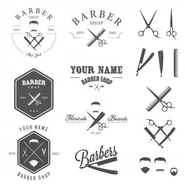 Set of barber shop labels, badges and design elements