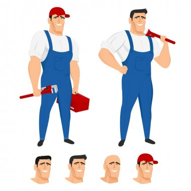 Funny plumber mascot