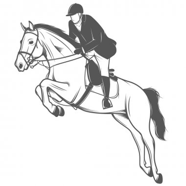 Jockey on a jumping horse