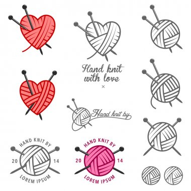Set of hand knit labels, badges and design elements