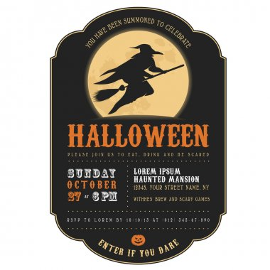 Halloween invitation with witch flying on a broom