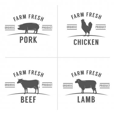 Set of butchery meat stamps and labels