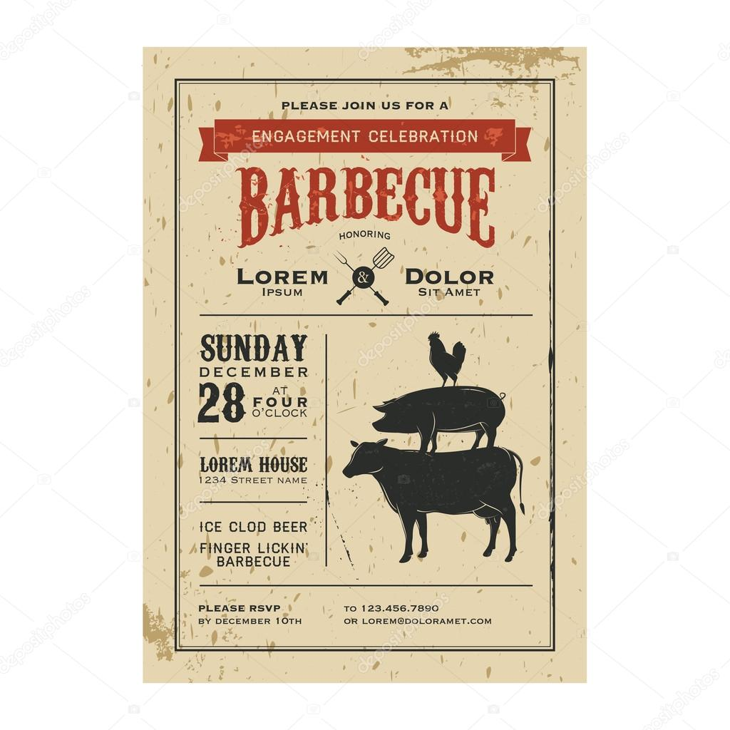 Vintage barbecue invitation card on old paper