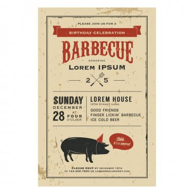 Birthday party barbecue invitation