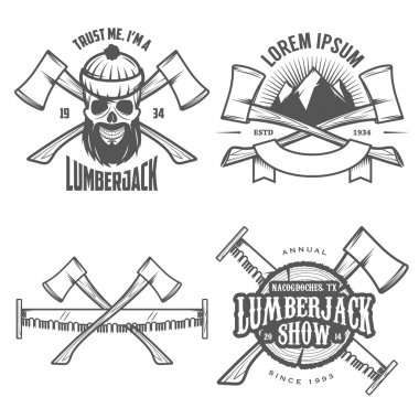 Set of lumberjack labels, emblems and design elements