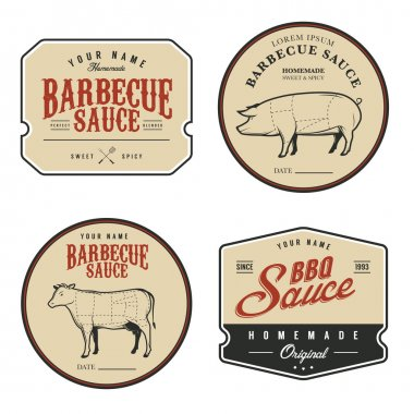 Set of vintage barbecue sauce labels