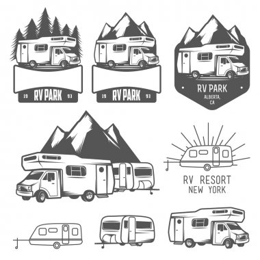 Set of RV and caravan park badges and design elements stock vector