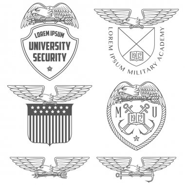 Military labels, badges and design elements