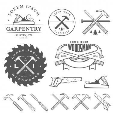 Set of vintage carpentry tools, labels, badges and design elements stock vector