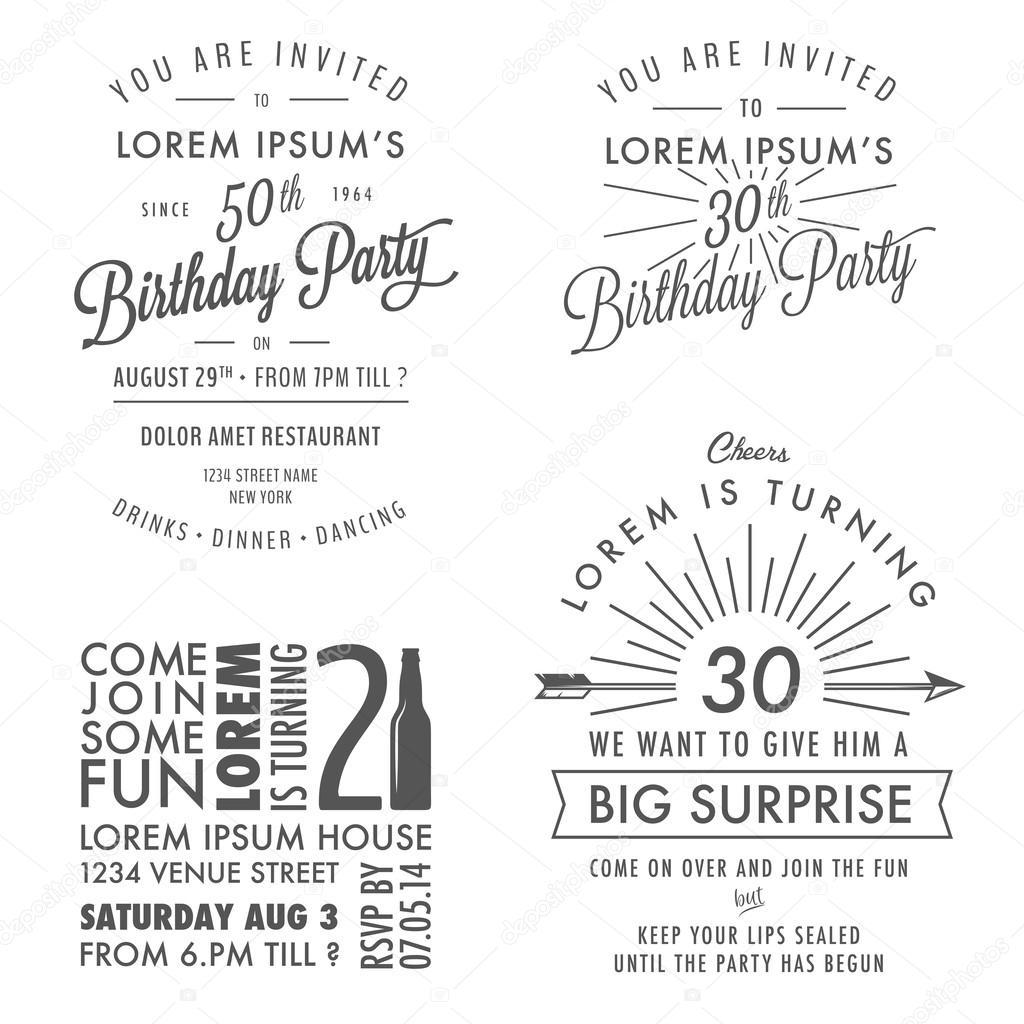 Conjunto De Elementos De Design Vintage De Convite De Aniversário