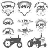 Set of farm farming, badges and design elements
