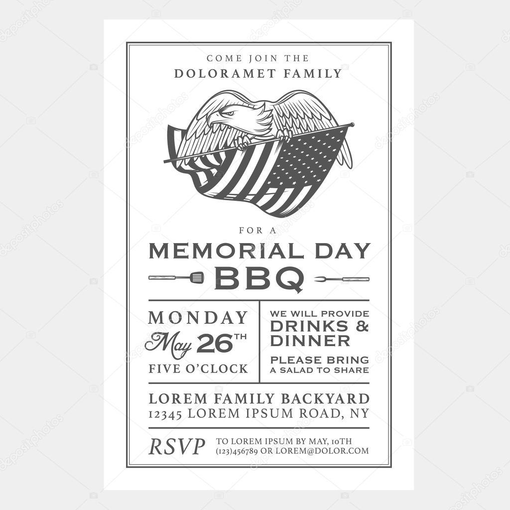 Vintage Memorial Day Grillen Einladung — Stockvektor © ivan.baranov ...