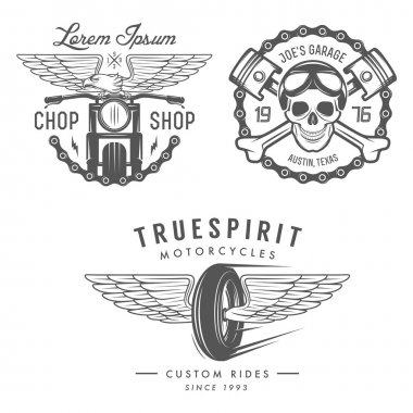 Set of motorcycle labels, badges and design elements