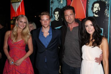 Leven Rambin, Johnny Weston, Gerard Butler, Abigail Spencer at the Chasing Mavericks Los Angeles Premiere, Pacific Theaters, Los Angeles, CA 10-18-12