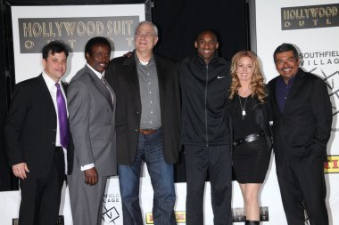 Jimmy Kimmel, Jim Hill, Phil Jackson, Kobe Bryant, Jeanie Buss and George Lopez at the Kobe Bryant Hand and Footprint Ceremony, Chinese Theater, Hollywood, CA. 02-19-11