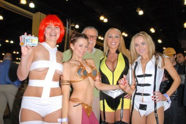 Rene Riffel, Alicia Arden, Stan Lee, Mary Carey and Paula Labaredas