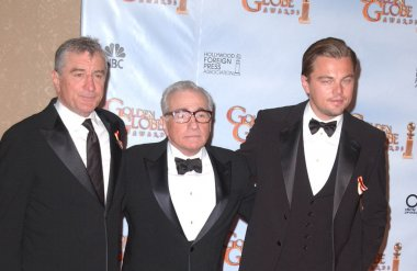 Robert De Niro, Martin Scorsese and Leonardo DiCaprio at the 67th Annual Golden Globe Awards Press Room, Beverly Hilton Hotel, Beverly Hills, CA 01-17-10 stock vector