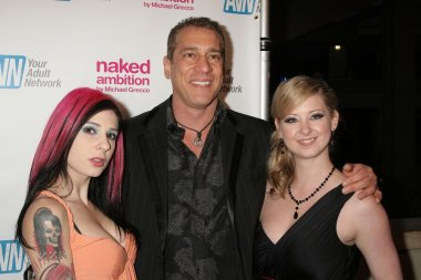 Joanna Angel with Charles Holland and Sunny Lane at the Los Angeles Premiere of 'Naked Ambition an R-Rated Look at an X-Rated Industry'. Laemmle Sunset 5 Cinemas, West Hollywood, CA. 04-30-09 stock vector