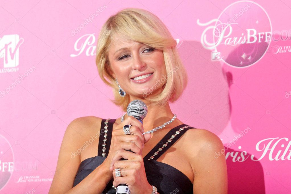 Paris Hilton at a press conference to announce her upcoming MTV series My New BFF, Private Location, West Hollywood, CA 03-13-08 stock vector