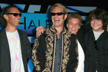 Alex Van Halen and David Lee Roth with Eddie Van Halen and Wolfgang Van Halen at the Van Halen Reunion Tour Press Conference. Four Seasons Hotel, Los Angeles, CA. 08-13-07