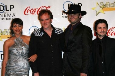 Rosario Dawson and Quentin Tarantino with Robert Rodriguez and Freddy Rodriguez