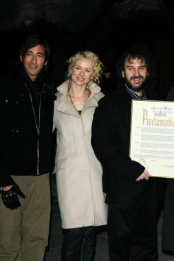 Adrien Brody with Naomi Watts and Peter Jackson at the Premiere of King Kong. Loews E-Walk and AMC Empire Cinemas, New York City, NY. 12-05-05