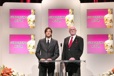 Adrien Brody and Frank Pierson, Academy President at the Nominations Announced for the 77th Annual Academy Awards, Academy of Motion Picture Arts and Sciences, Beverly Hills, CA 01-25-05