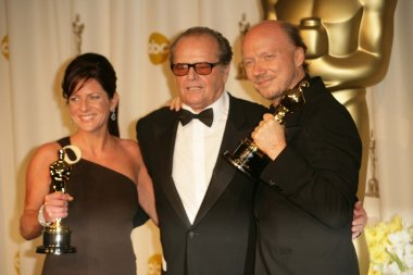 Cathy Schulman with Jack Nicholson and Paul Haggis in the press room at the 78th Annual Academy Awards. Kodak Theatre, Hollywood, CA. 03-05-06
