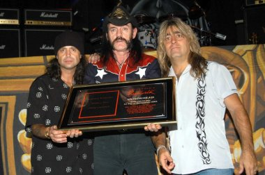 Motorhead's Philip Campbell, Lemmy Kilmister and Mikkey Dee