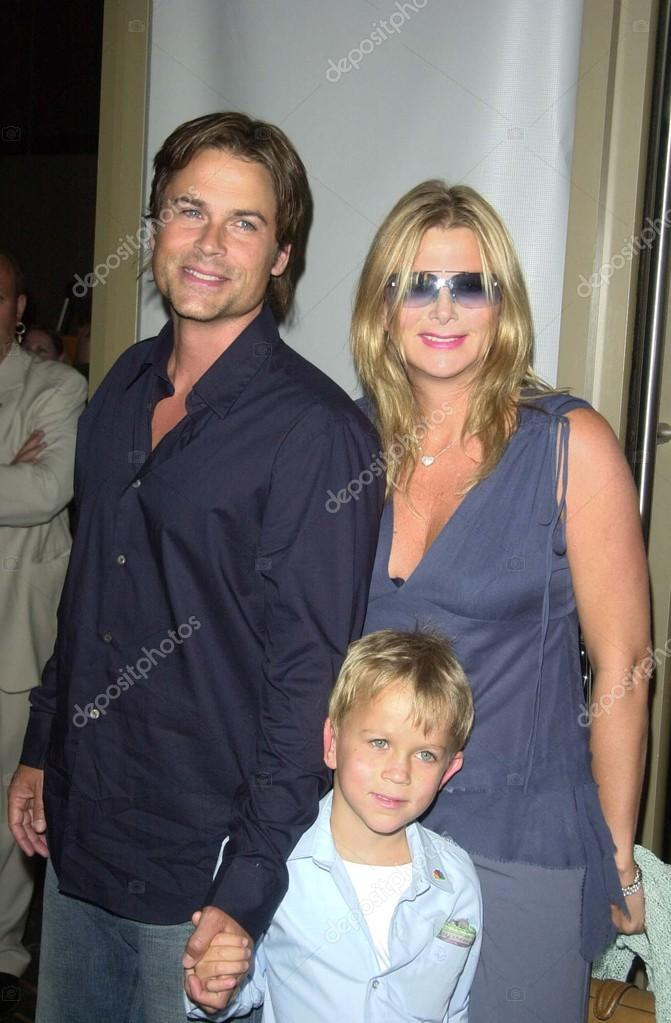 rob lowe wife sheryl berkoff and son stock editorial. Black Bedroom Furniture Sets. Home Design Ideas