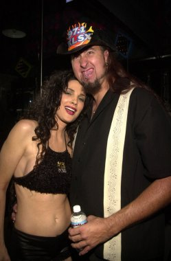 Julie Strain with seven foot tall