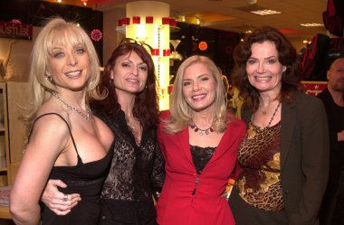 Nina Hartley, Kelly Nichols, Candid Royalle and Veronica Hart at the Post-Valentines Party thrown by Adam and Eve Productions, Hustler Store, Hollywood, 02-21-02 stock vector