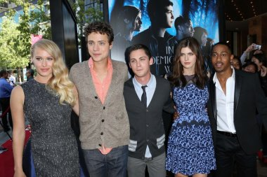 Leven Rambin, Jake Able, Logan Lerman, Alexandra Daddario and Brandon T. Jackson