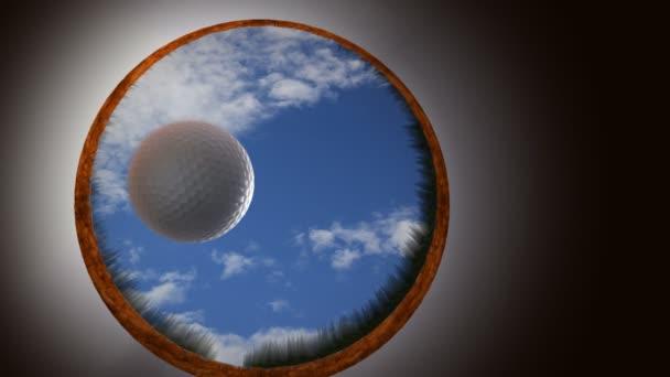 Golfball betritt Loch