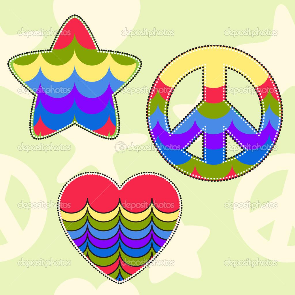Estrellas Y Corazones De Colores Formas Colores Brillantes