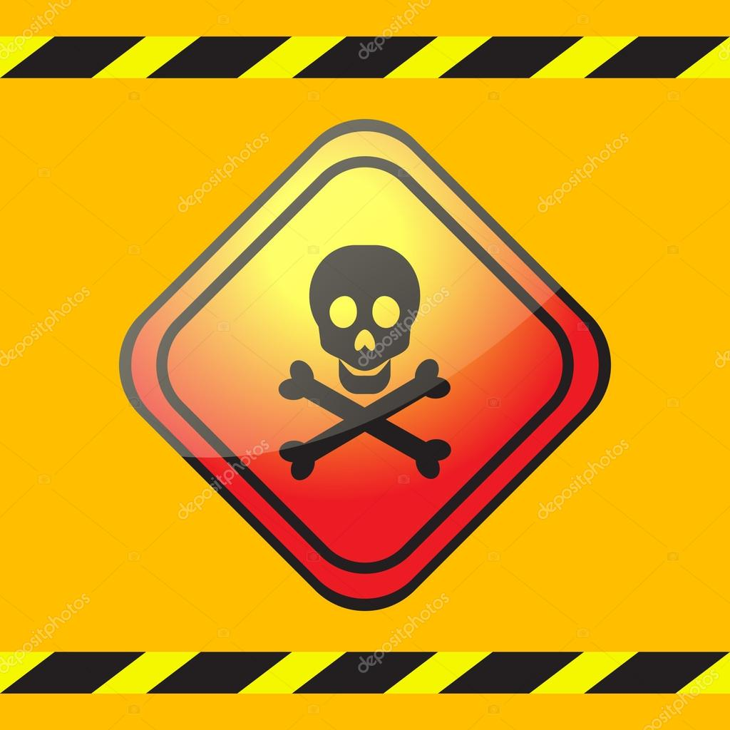 warning sign of poison on a square table stock vector nata789