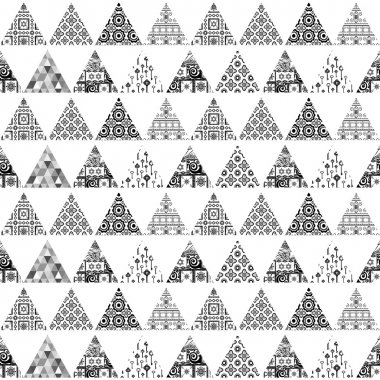 Seamless pattern of triangular patches of different patterns. Black and white background.
