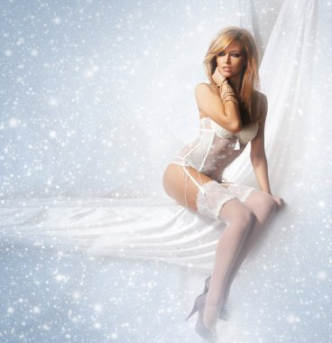 Portrait of young and attractive girl in sexy lingerie over winter backgrou