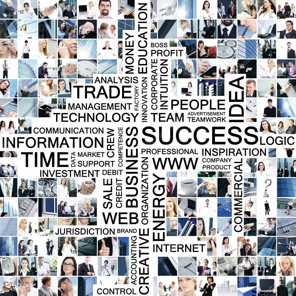collage de negocio de muchos diversos cuadros con texto — Fotos de ...