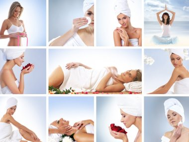 Spa collage with some nice shoots of young and healthy women getting recreation treatment
