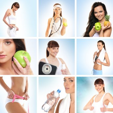 Beautiful collage about health, sport and dieting