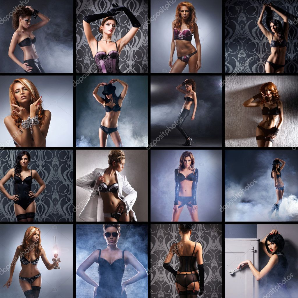 Fashion collage made of many shoots of young attractive women in lingerie