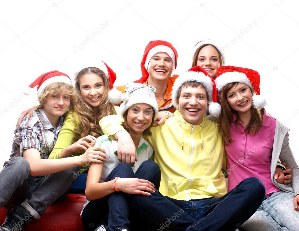 Teenagers celebrate christmas