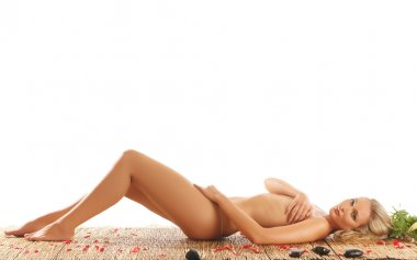 Young naked woman in spa